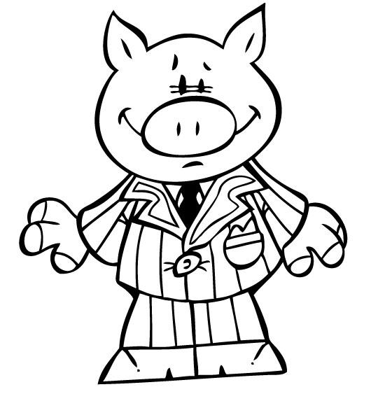 Coloriage Chanson Bébé cochon, bébé cochon en costume