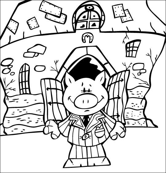 Coloriage pour enfants. Coloriage Bébé cochon, Bébé cochon sort de la ferme pour aller danser, thème Cochon