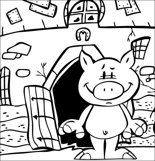Coloriage pour enfants. Coloriage Bébé cochon, Bébé cochon tout nu devant la ferme, catégorie Chanson pour enfants Bébé cochon