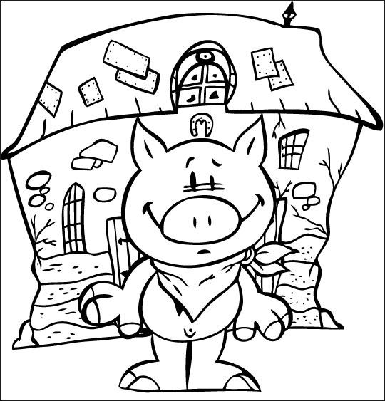 Coloriage pour enfants. Coloriage Bébé cochon, Bébé cochon une serviette autour du cou, thème Cochon
