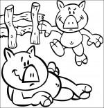 Coloriage Chanson Bébé cochon, Deux bébés cochons dans la cour de la ferme