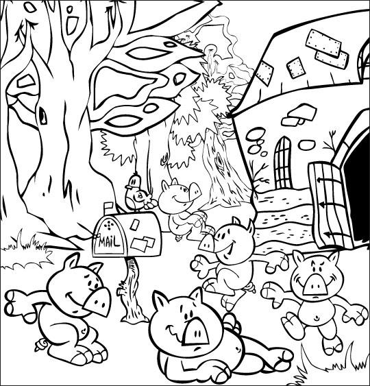 Coloriage Chanson Bébé cochon, les bébés cochons dans la ferme