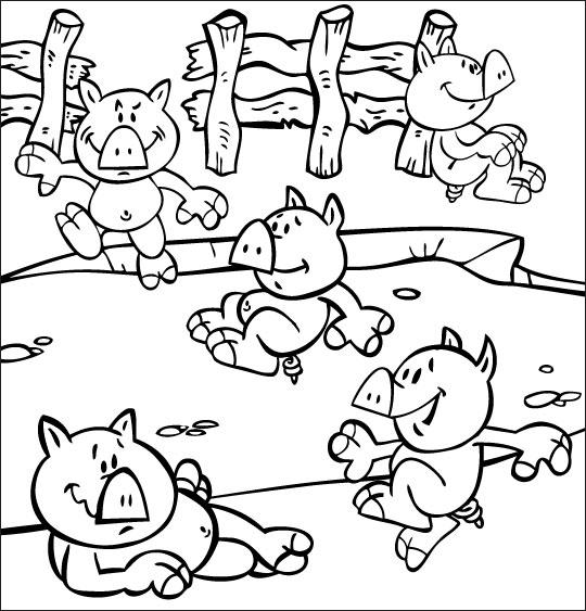 Coloriage pour enfants. Coloriage Bébé cochon, les bébés cochons dans la mare, thème Mare