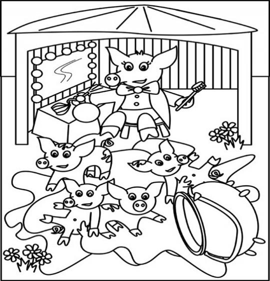 Coloriage pour enfants. Coloriage Chanson Bébé cochon par Emareva, illustrateur Emareva