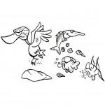 Coloriage Chanson Berlingot le crapaud, le gros canard et les poissons