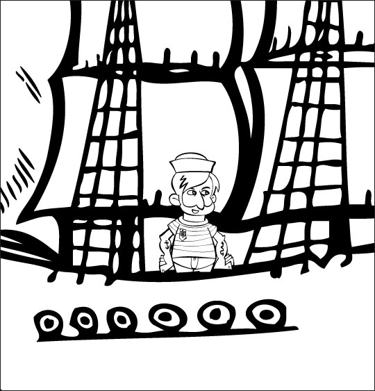 Coloriage pour enfants. Coloriage Brave Marin, le marin est sur son bateau, thème Hommes
