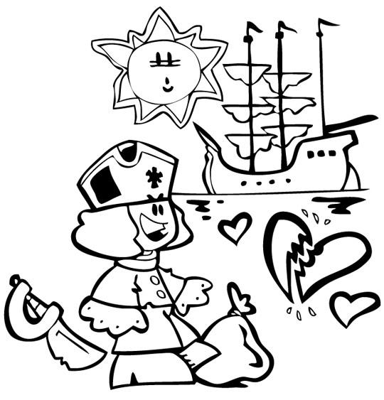 Coloriage Chanson Brave Marin, le marin et son beau bateau
