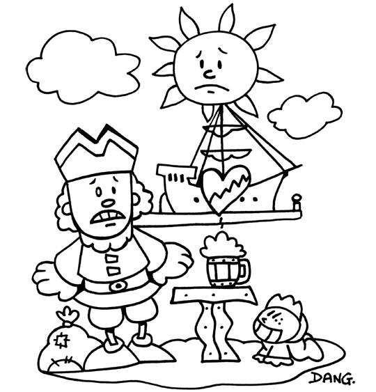 Coloriage pour enfants. Coloriage Brave Marin, notre marin a le coeur brisé, catégorie Chanson pour enfants Brave Marin