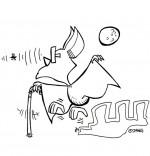Coloriage Chanson Chauve-souris, chauve-souris aveugle mais avec un radar