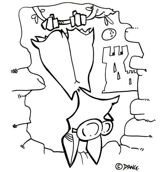 Coloriage Chanson Chauve-souris, chauve-souris les pieds en l'air