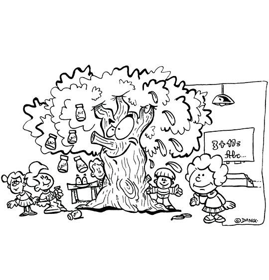 Coloriage pour enfants. Coloriage Dans mon École à Moi, l'arbre dans l'école, catégorie Chanson pour enfants Dans mon École à Moi