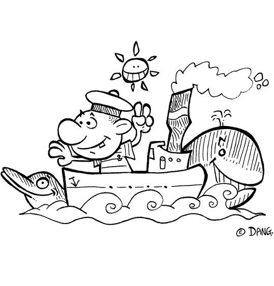 Coloriage pour enfants. Coloriage Il était un petit navire, un mousse sur un bateau, catégorie Chanson enfant de marins Il était un petit navire