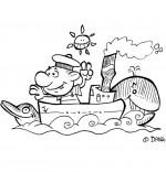 Coloriage Chanson de marins Il était un petit navire, un mousse sur un bateau