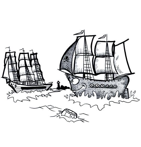 Coloriage pour enfants. Coloriage Le 31 du mois d'août, deux bateaux en pleine mer, catégorie Chanson de marins Le 31 du mois d'août