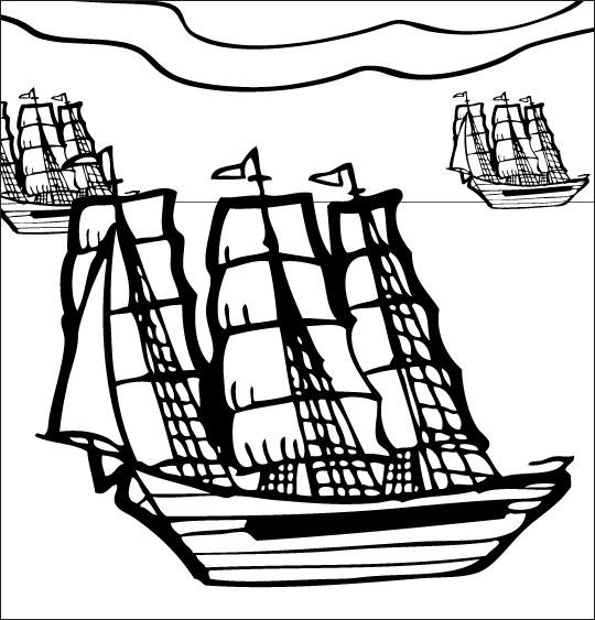 Coloriage Chanson de marins Le 31 du mois d'août, les bateaux anglais
