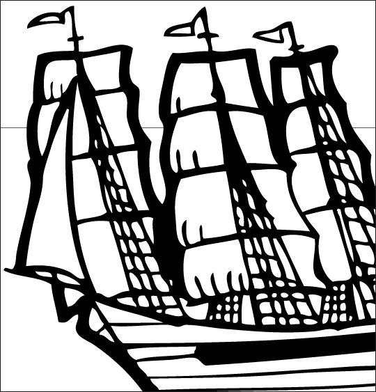 Coloriage pour enfants. Coloriage Le 31 du mois d'août, un navire anglais, catégorie Chanson de marins Le 31 du mois d'août