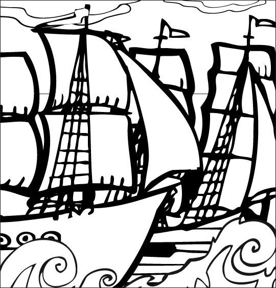 Coloriage pour enfants. Coloriage Le 31 du mois d'août, un navire français et un navire anglais, catégorie Chanson de marins Le 31 du mois d'août