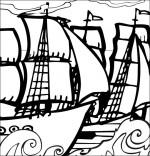 Coloriage Chanson de marins Le 31 du mois d'août, un navire français et un navire anglais