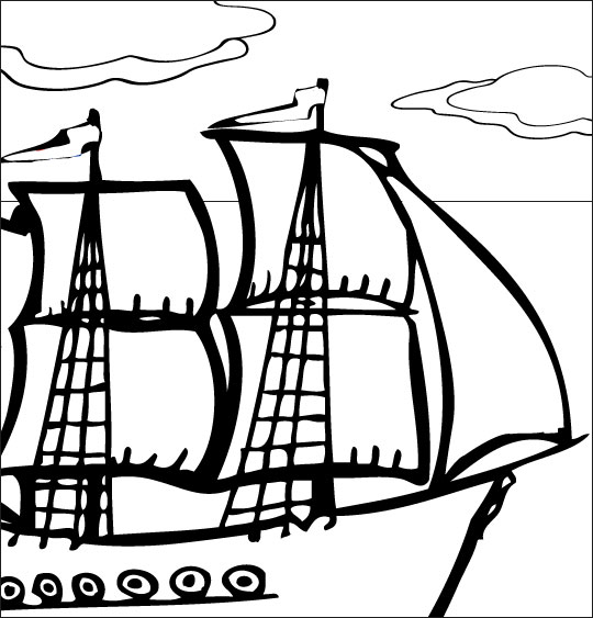 Coloriage pour enfants. Coloriage Le 31 du mois d'août, un navire français, catégorie Chanson de marins Le 31 du mois d'août