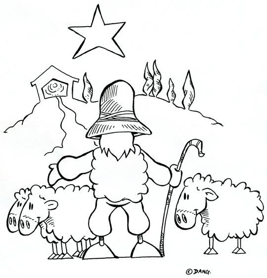 Coloriage Chanson de Noël Douce Nuit, le berger rentre ses moutons