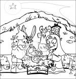 Coloriage Chanson de Noël Il est né le divin enfant dans la crèche