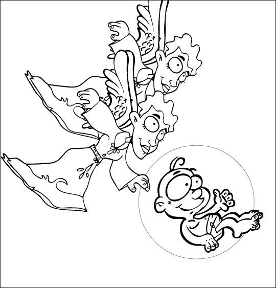 Coloriage pour enfants. Coloriage chanson de Noël Il est né le divin enfant, deux anges et Jésus, thème Noël