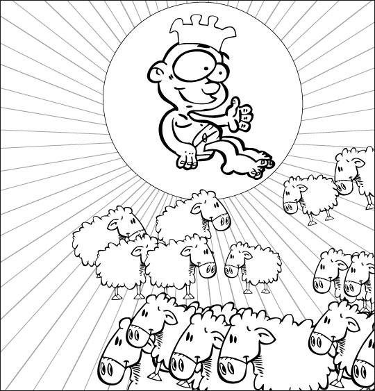 Coloriage pour enfants. Coloriage chanson de Noël Il est né le divin enfant, Jésus Roi, catégorie Chanson de Noël Il est né le divin enfant