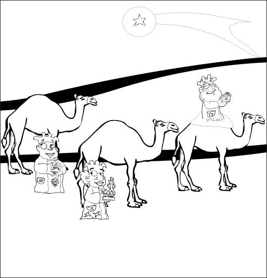 Coloriage pour enfants. Coloriage chanson de Noël Il est né le divin enfant, les rois mages, thème Dromadaire