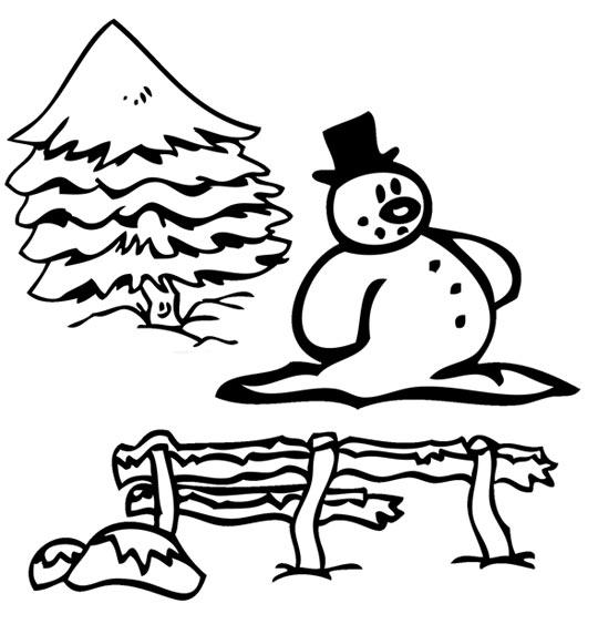 Coloriage pour enfants. Coloriage de Noël Jingle Bells Le Bonhomme de neige, catégorie Chanson de Noël Jingle Bells