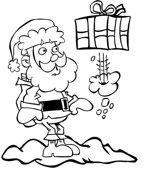 Coloriage pour enfants. Coloriage de Noël Jingle Bells Le père Noël  et le cadeau coquin, catégorie Chansons de Noël pour les enfants