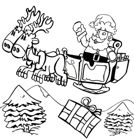 Coloriage Chanson de Noël Jingle Bells Le père Noël sur son traineau