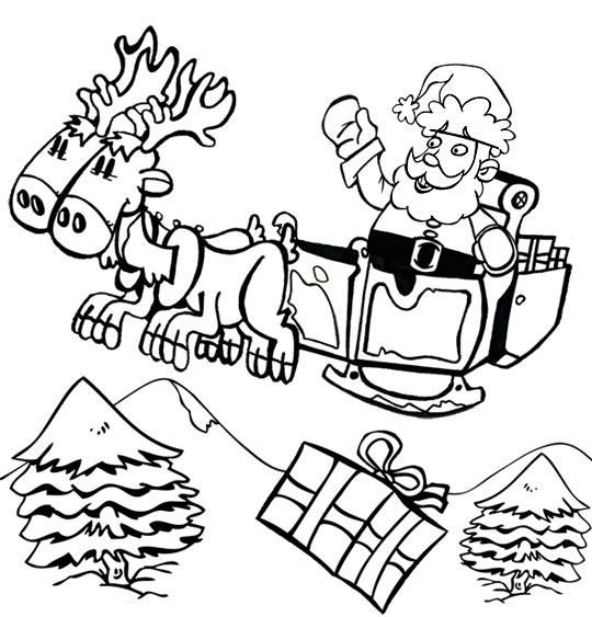 Coloriage pour enfants. Coloriage de Noël Jingle Bells Le père Noël sur son traineau, catégorie Chansons de Noël pour les enfants