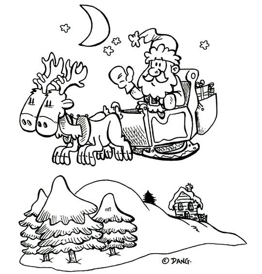 Coloriage pour enfants. Coloriage de Noël Jingle Bells Le père Noël vole dans le ciel, thème Renne