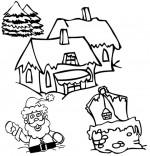 Coloriage Chanson de Noël Jingle Bells, Père Noël est enfoncé dans la neige