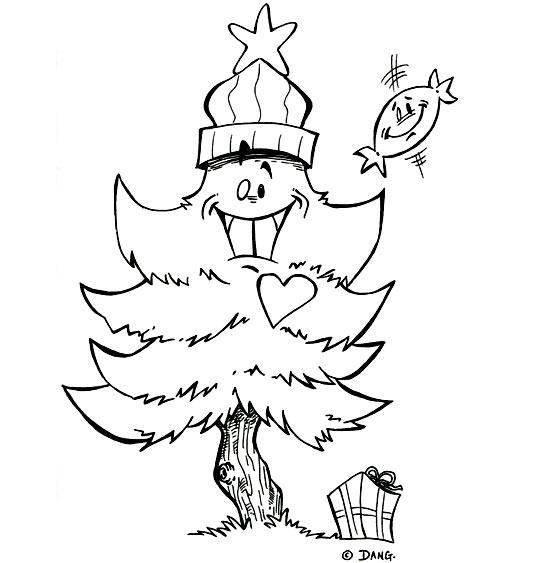 Coloriage pour enfants. Coloriage de Noël Mon beau sapin avec un chapeau rouge, catégorie Chanson de Noël Mon beau Sapin