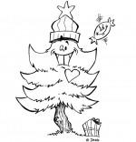 Coloriage Chanson de Noël Mon beau sapin avec un chapeau rouge