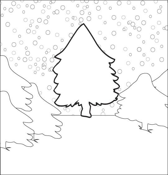 Coloriage pour enfants. Coloriage chanson de Noël Mon beau sapin caché sous la neige, catégorie Chanson de Noël Mon beau Sapin