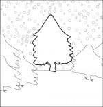 Coloriage Chanson de Noël Mon beau sapin caché sous la neige