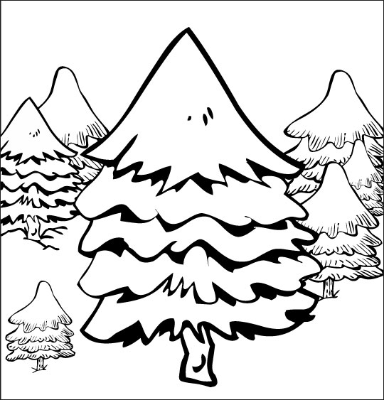 Coloriage pour enfants. Coloriage de Noël Mon beau sapin, le sapin au milieu de la forêt, catégorie Chanson de Noël Mon beau Sapin