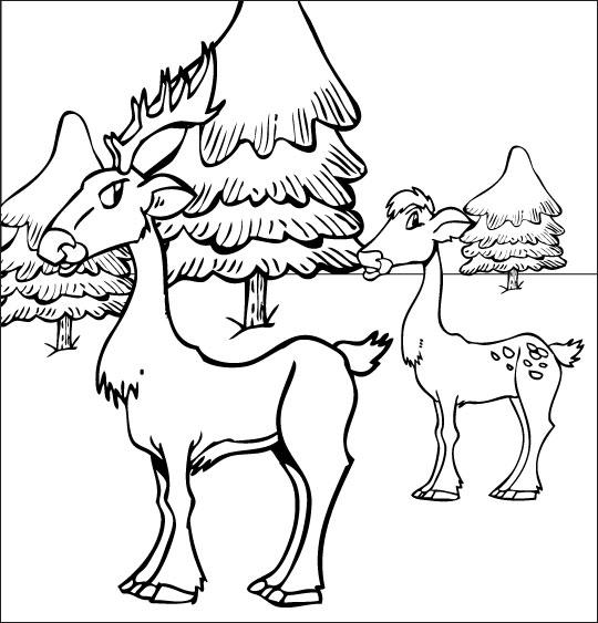 Coloriage pour enfants. Coloriage de Noël Mon beau sapin les chevreuils dans la neige, thème Noël