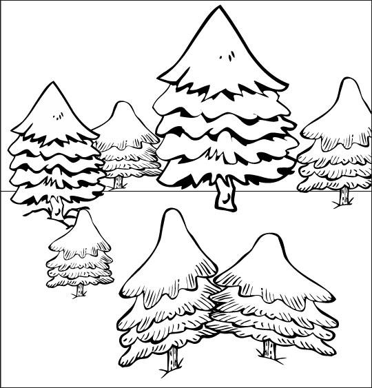Coloriage pour enfants. Coloriage de Noël Mon beau sapin, sept sapins dans la neige, catégorie Chanson de Noël Mon beau Sapin