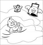 Coloriage Chanson Frère Jacques, le bébé dort dans les nuages
