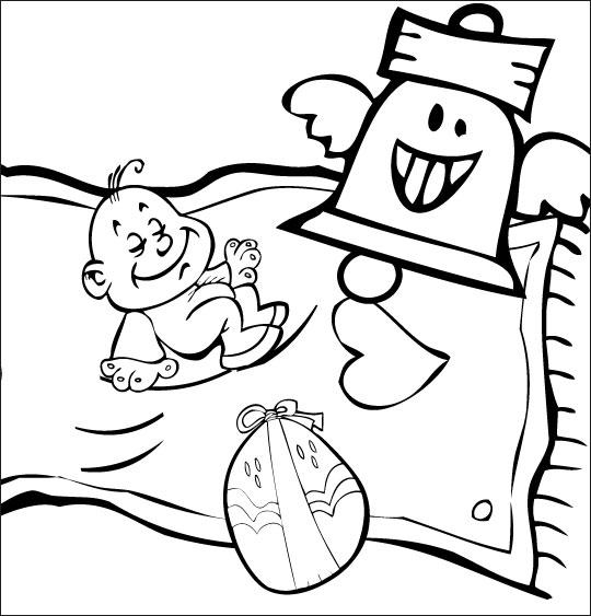 Coloriage pour enfants. Coloriage chanson Frère Jacques, le bébé Jacques dort sur un tapis volant, thème Cloche