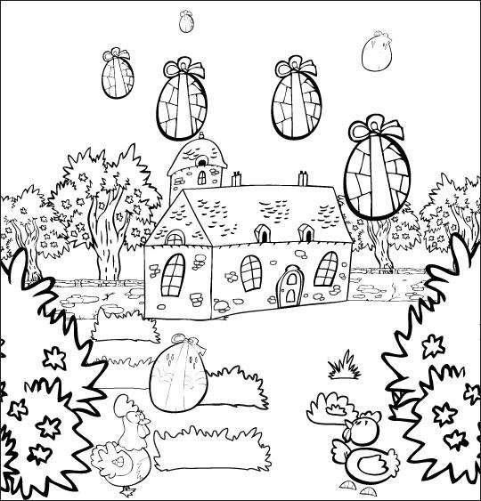 Coloriage pour enfants. Coloriage chanson Frère Jacques, les oeufs tombent dans le jardin, thème Maisons