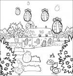 Coloriage Chanson Frère Jacques, les oeufs tombent dans le jardin