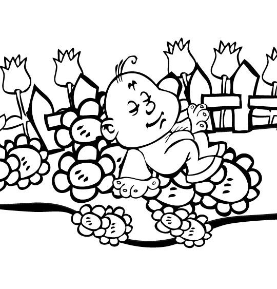 Coloriage Chanson Frère Jacques, petit frère dort dans le jardin