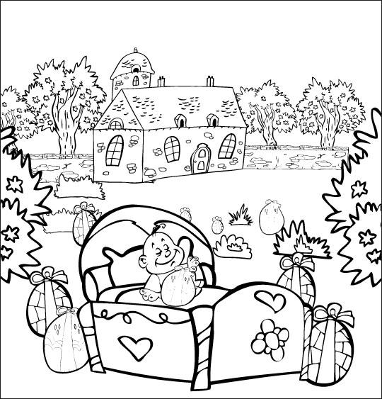 Coloriage Chanson Frère Jacques, petit frère dort dans un lit dans le jardin