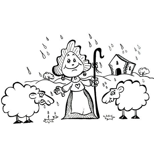 Coloriage pour enfants. Coloriage Il pleut Bergère, la bergère et deux moutons, thème Mouton