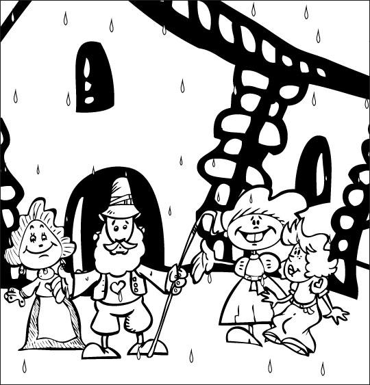 Coloriage Chanson Il pleut Bergère, le berger et la bergère devant la chaumière
