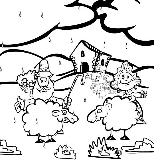 Coloriage pour enfants. Coloriage Il pleut Bergère, le berger, la bergère et deux moutons, catégorie Chanson pour enfants Il pleut, il pleut Bergère